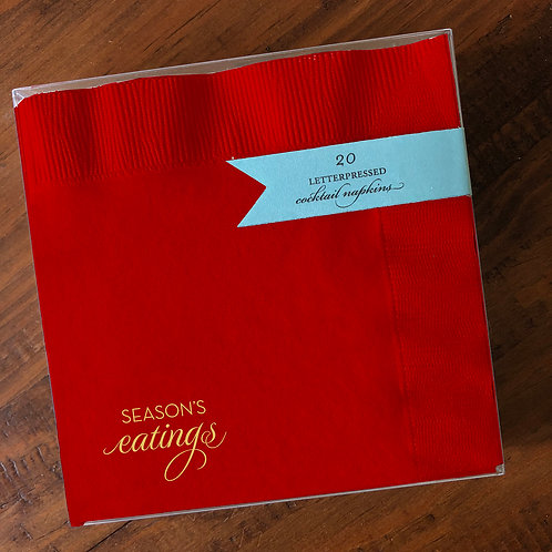 Season's Eatings Red Cocktail Napkins