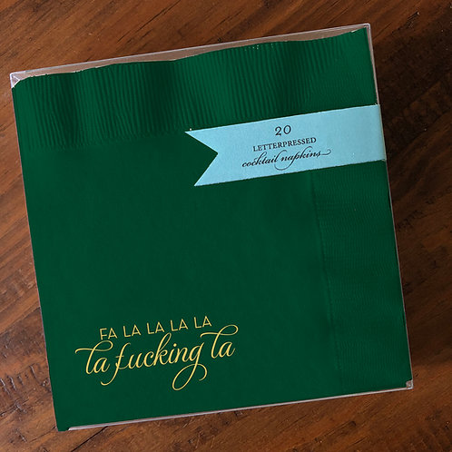 Fa La La Green Cocktail Napkins