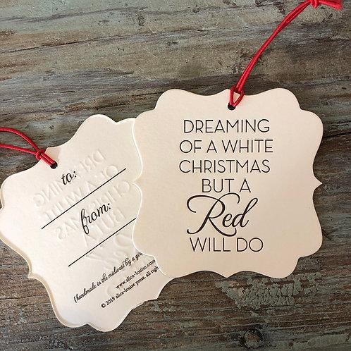 White Christmas Wine Tags