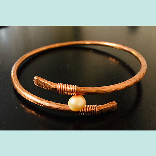 Copper Cuff with Freshwater Pearls