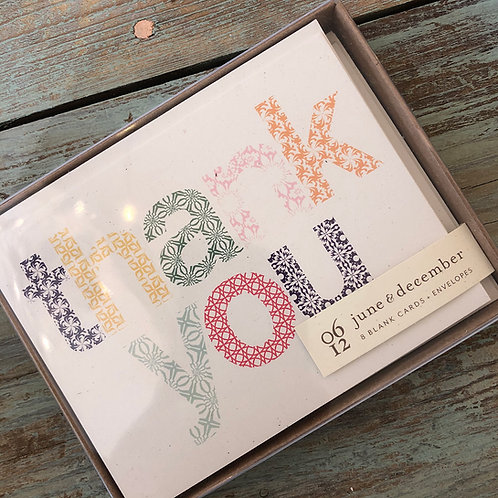 Woodblock Thank You Cards / Boxed Set Of 8