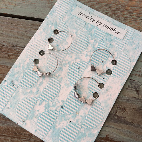 4 Silver Heart Wine Charms