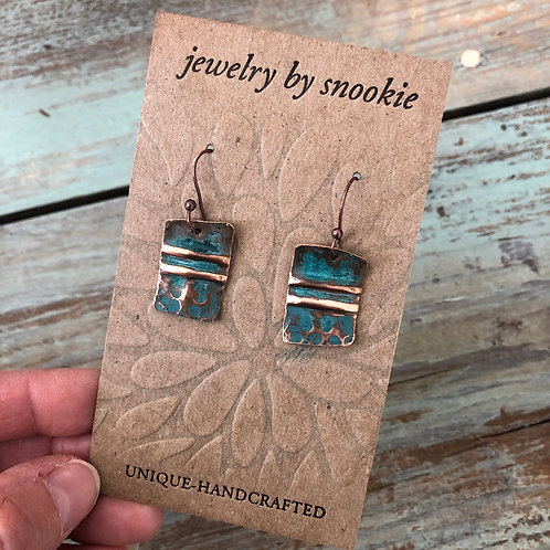 Copper Earrings in Teal Blue