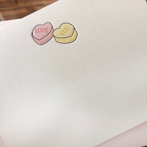 Conversation Hearts Notecard