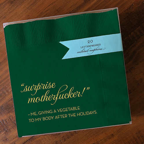 Surprise Motherfucker Green Cocktail Napkins