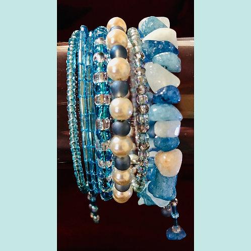 Quartzite Aqua Blue Stone Set