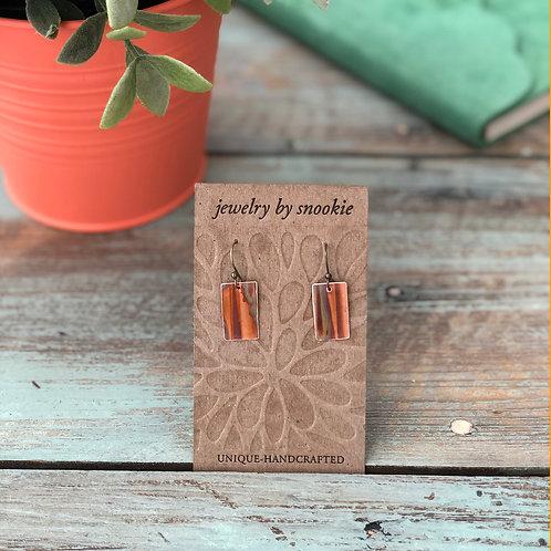 Copper Earrings in Orange