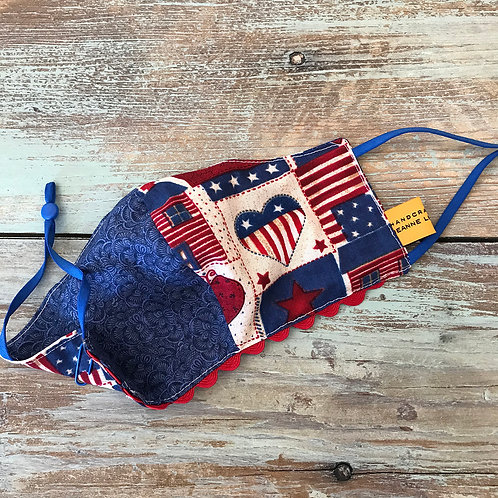 Women's Mask Blue Swirls/Country Flag/Red Ric Ric