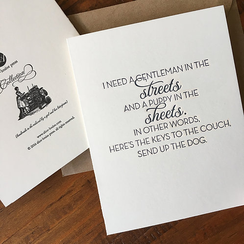Puppy in the Sheets Card