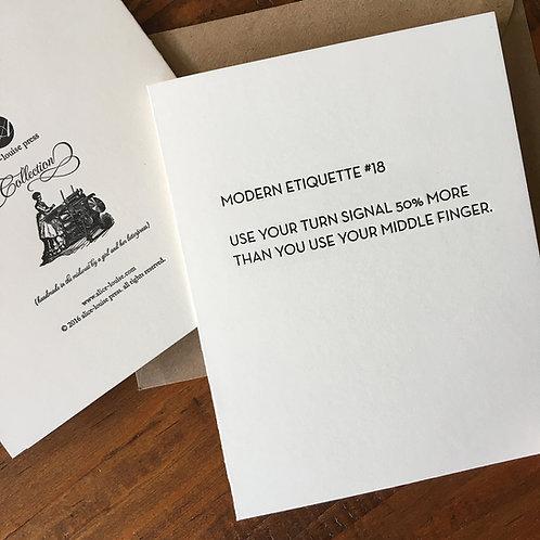 Modern Etiquette #18 Card