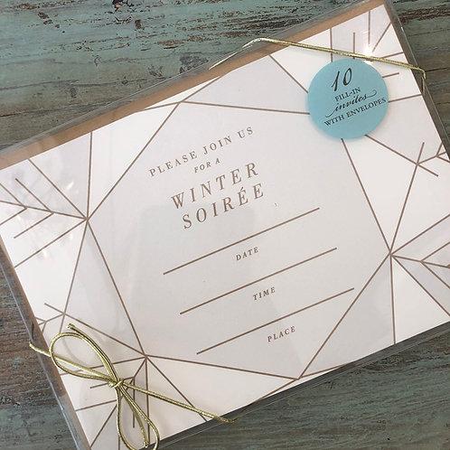 Modern Snowflake Fill-In Invite