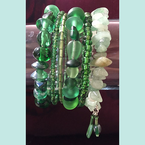 Aventurine & Glass Bead Set