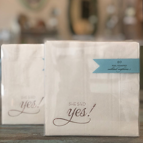 She Said Yes! Rose Gold Foil Cocktail Napkins