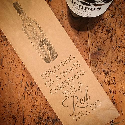 White Christmas Wine Bag
