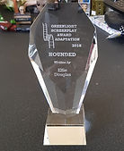 Photograph of award from Greenlight Screenplay