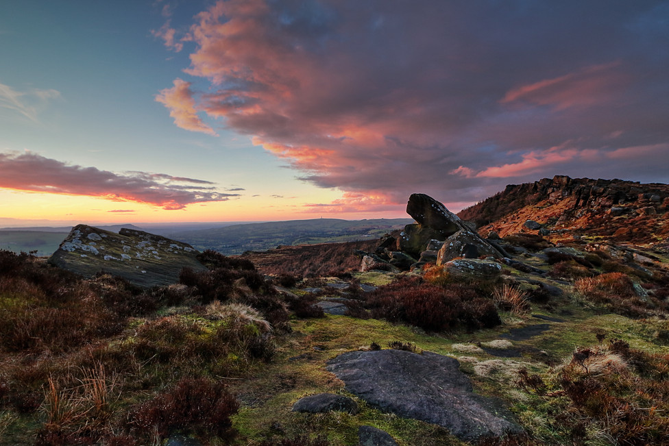 Pink Skies at the Roaches