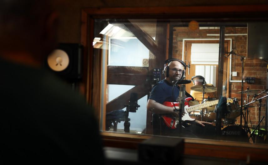 Sal Broughton at his album recording session