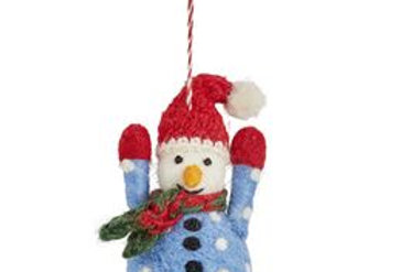 Felt Snowman with Knitted Hat Decoration
