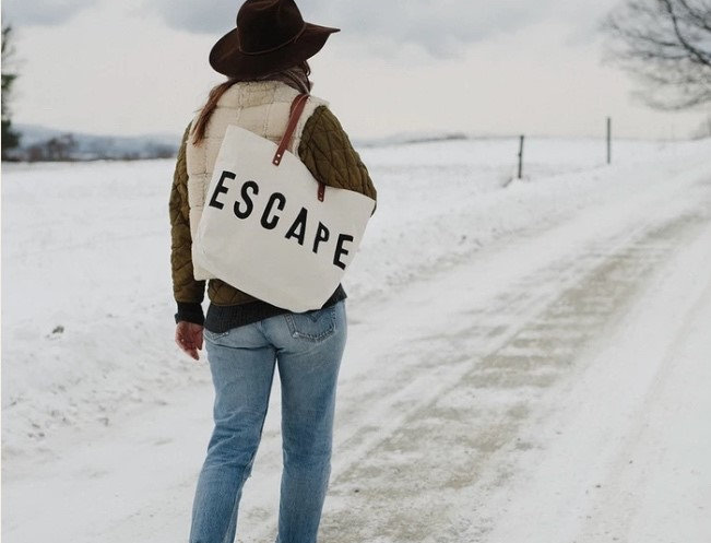 ESCAPE Canvas & Leather Tote Bag by Forest Bound