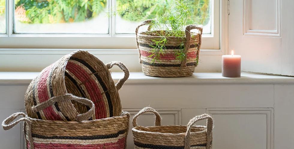 Set of 4 - Natural Corn & Straw Baskets