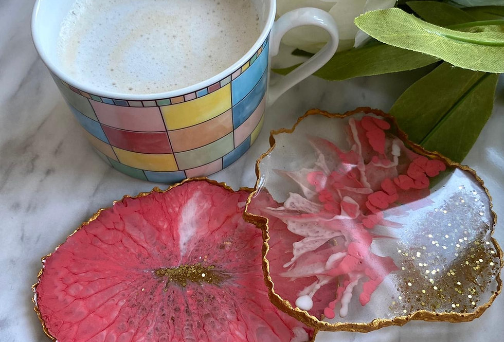 Pink & White Feathered Geode Coaster Sets