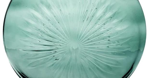 Green Glass Vase - Daisy/Disc