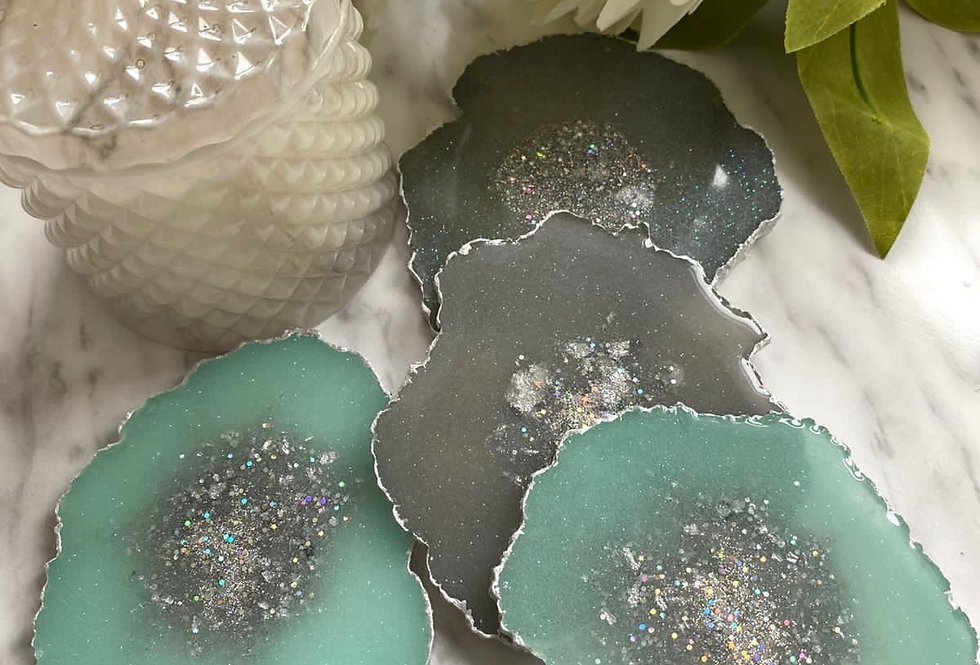 Mint Green Geode Coaster Sets