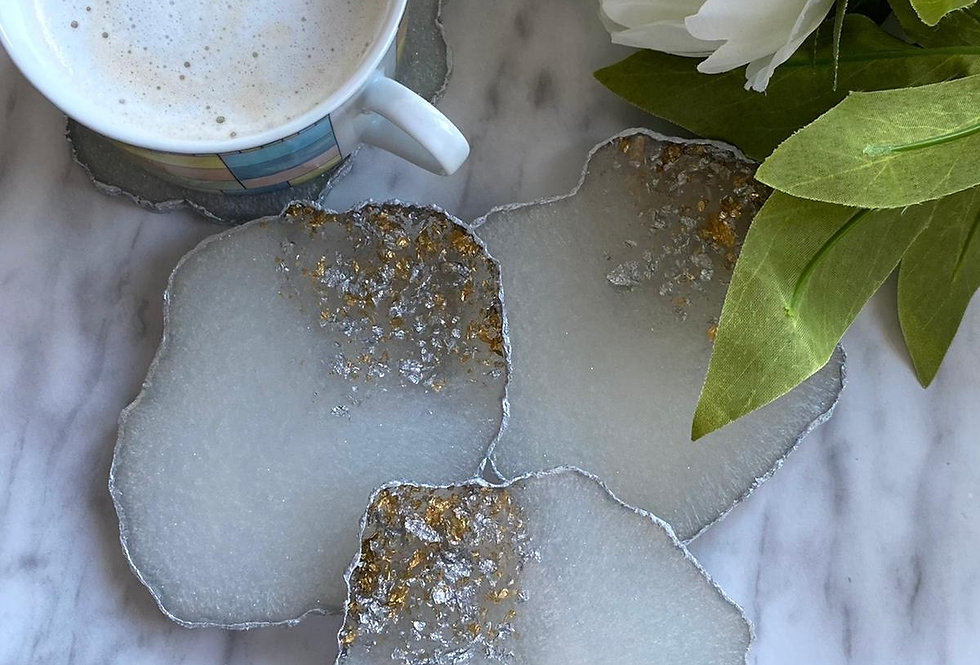 Set of 4 White & Silver Geode Coasters