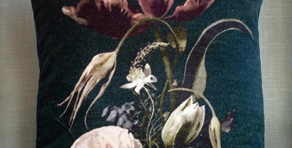 Vintage Flowers Velvet Cushion