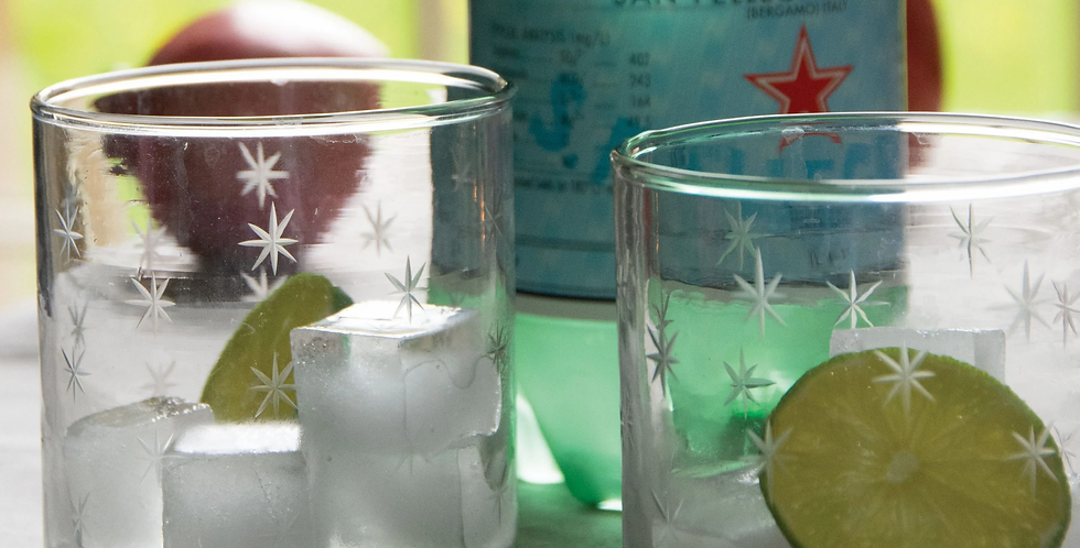 Set of two Etched Star Water Tumblers - available in sets of 2 & 4