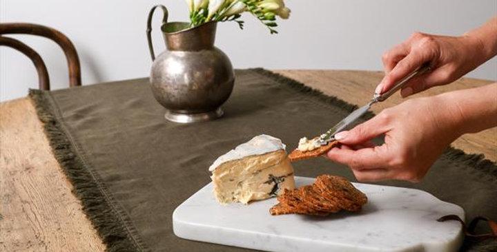 Linen Tassel Table Runner -Olive Green