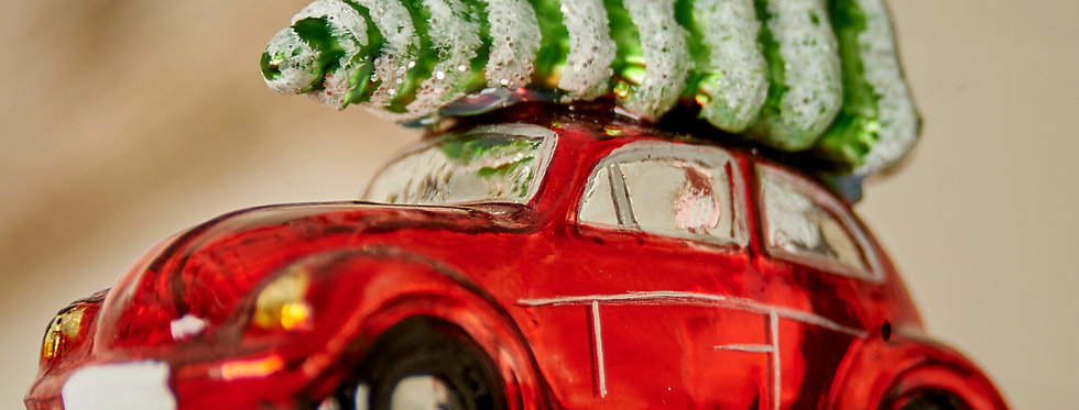 Retro car with Christmas Tree Decoration