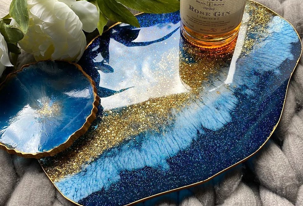 Blue & Gold Resin Tray/Centre piece