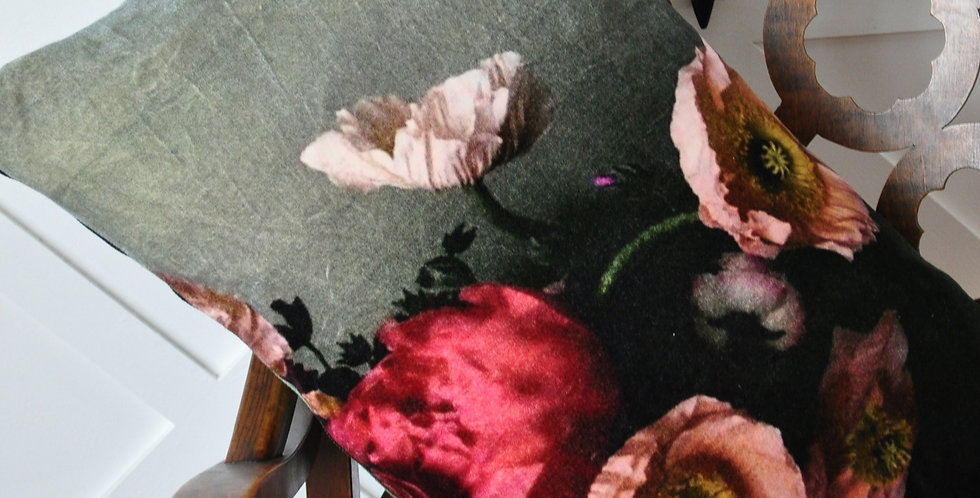Vintage Poppy Velvet Cushion