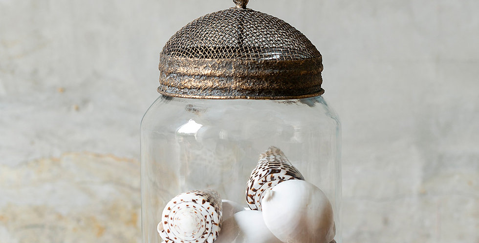 Glass Jar with Mesh Bumble Bee Lid