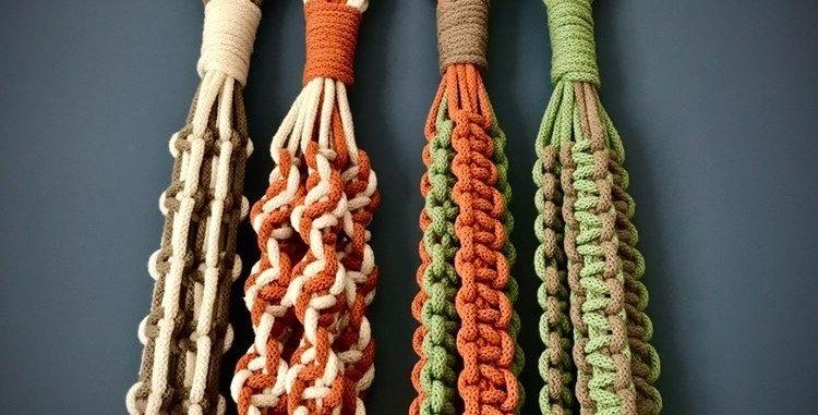 Macrame Coloured Plant Hangers