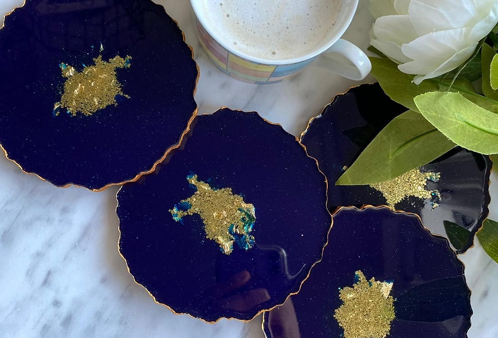Set of 4 Blue Agate Coasters