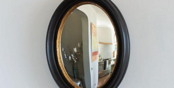 Oval Convex Mirror Antique Black