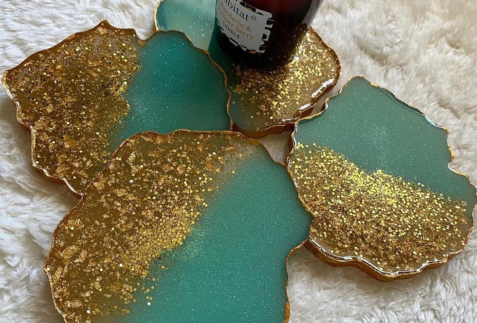 Teal & Gold Agate Coaster Sets