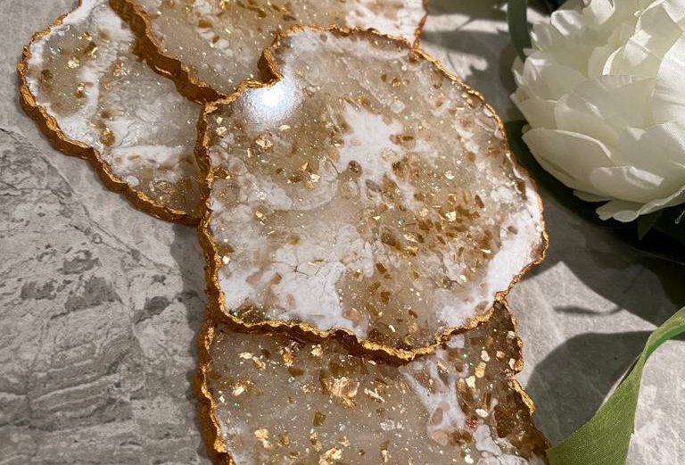 Marble Effect Gold Geode Coaster Sets
