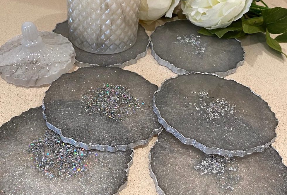 Fifty Shades of Grey Agate Coaster Sets