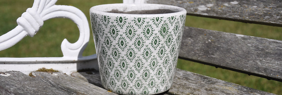 Old Style Dutch Pots Green Patterned Design