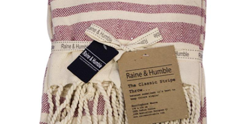 Classic Stripe Herringbone Weave Sangria Throw