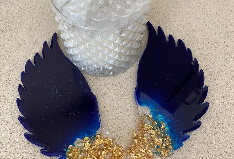 Blue & Gold Angel Wings Coasters