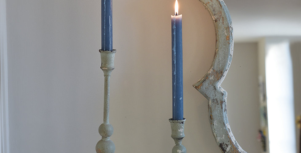 Tall Antiqued Grey /Green Candlestick £18.50 for 1 or £30.00 for 2