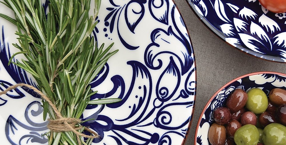 Navy & White Plate - Set of 2