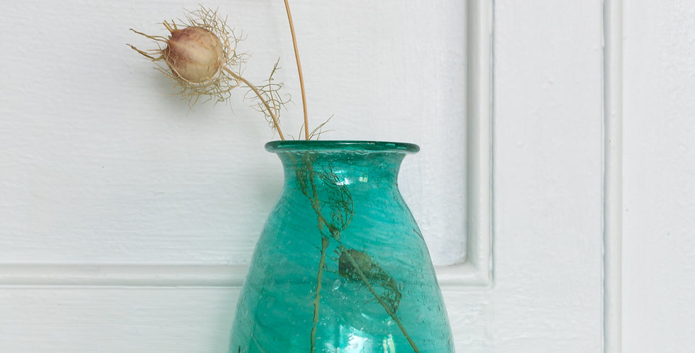 Small Padma Vase Recycled Glass Teal