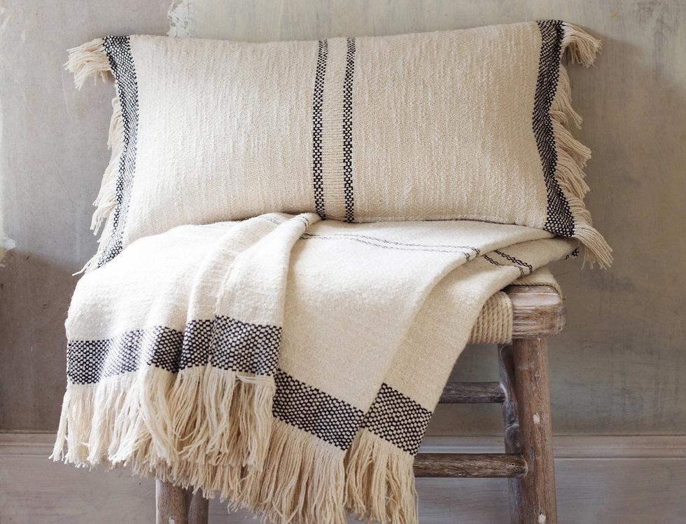 Andas Black Stripe Cushion & Throw