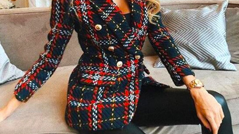Ladies Chic Red Plaid Vintage Blazer