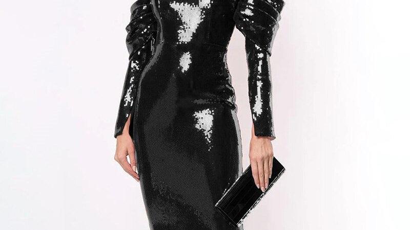 Trendy Sequins Embellished Long Sleeves Back Zipper Party Knee Length Dress